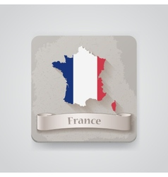 icon france map with flag vector image