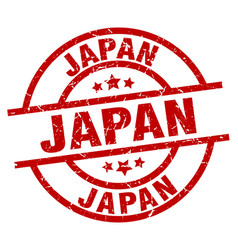 japan red round grunge stamp vector image