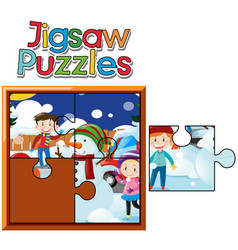 Jigsaw puzzle game with kids in snow vector