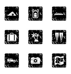 Journey to sea icons set grunge style vector