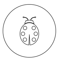 Ladybird black icon outline in circle image vector