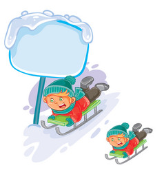 Little boy is riding a sled vector
