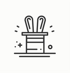 magic trick icon rabbit in magician black hat vector image