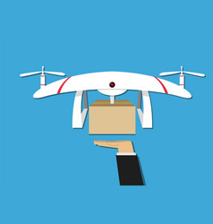man get a gift from drone delivery design vector image