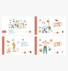 maternity mother care landing page template set vector image