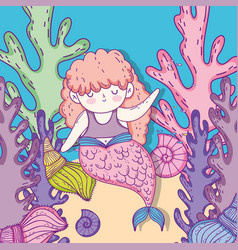 Mermaid woman with shells and seaweed plants vector