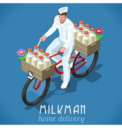 Milkman Bicycle Vintage Isometric vector image