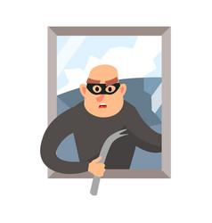 Modern burglar with black mask broken house vector