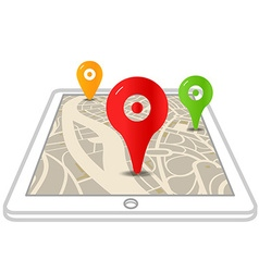 Modern gadget with abstract city map and color vector