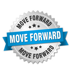 Move forward round isolated silver badge vector