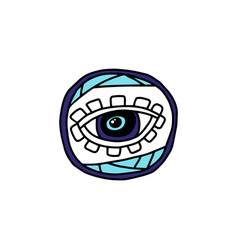 mystic evil eye doodle drawing isolated on white vector image