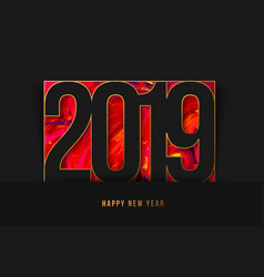 new year 2019 background gold frame vector image