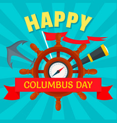 october columbus day concept background flat vector image