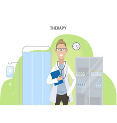 office of the therapist caucasian male doctor vector image