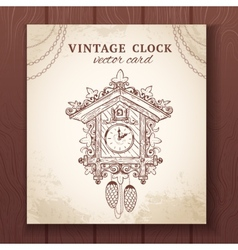 Old retro cuckoo clock card vector image