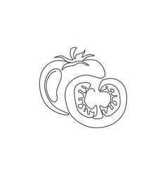 One continuous line drawing slice healthy organic vector