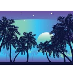 Palm Tree at Night2 vector image