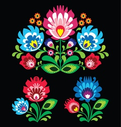 Polish floral folk embroidery pattern on black vector