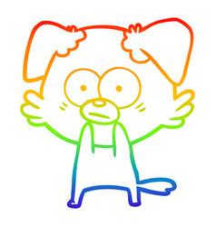 Rainbow gradient line drawing nervous dog cartoon vector