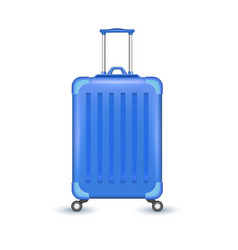 realistic blue travel suitcase bag vacation vector image