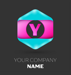 Realistic letter y logo in colorful hexagonal vector