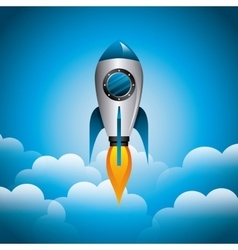 Rocket and cloud icon Science and spaceship vector image