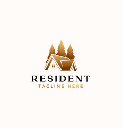 Roof house gold gradient logo template isolated vector