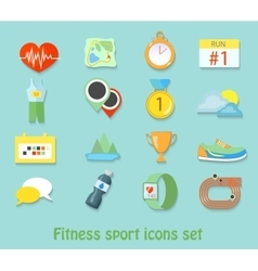 Running fitness sport icons Healthy life set vector