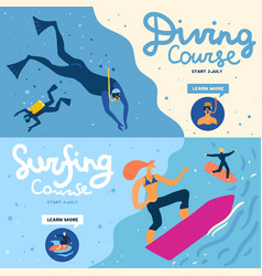 sea activities banners set vector image