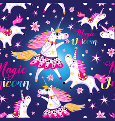 seamless bright pattern with unicorns and stars vector image