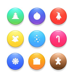 set of christmas badges isolated on white vector image