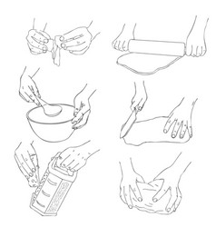 set of cooking hands vector image