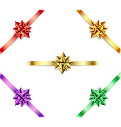 set of multi-colored bows with ribbons on white vector image