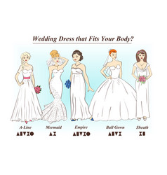 Set of wedding dress styles for female body shape vector