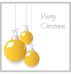 shiny yellow christmas decoration baubles hanging vector image