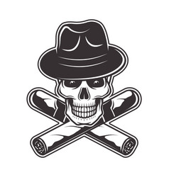 Skull in gangster hat and two crossed cigars vector