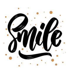 smile lettering phrase for greeting card vector image