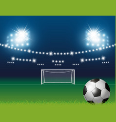 Soccer ball and goal with spotlight background vector