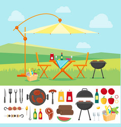 summer picnic in nature flat vector image