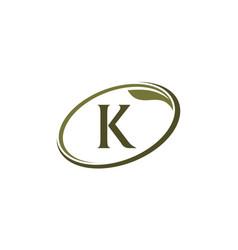 Swoosh leaf letter k vector