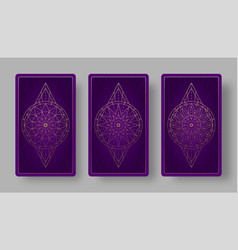 Tarot cards back set with stylized floral pattern vector
