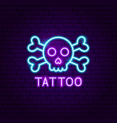 tattoo neon label vector image