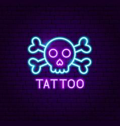 Tattoo neon label vector