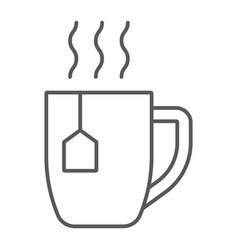 Tea cup thin line icon drink and beverage vector