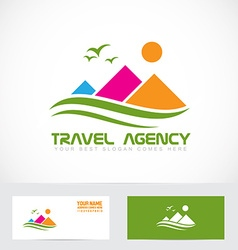 Tourism travel agency mountain logo vector image vector image
