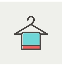 Towel on hanger thin line icon vector image