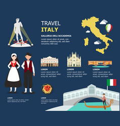 traveling to italy by landmarks map vector image