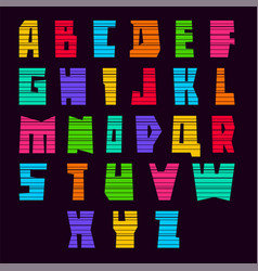 Trendy alphabet bright colored letters uppercase vector