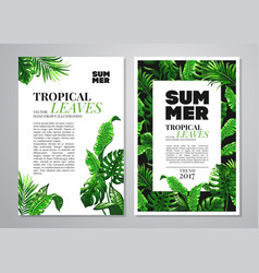 Tropical palm leaves background vector