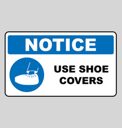 use shoe covers sign protective safety covers vector image
